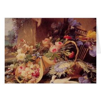 Aún vida elegante con las flores tarjeta pequeña