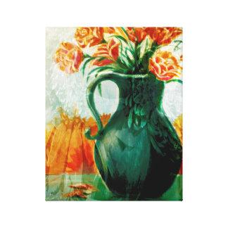 Aún vida floral impresiones en lienzo estiradas