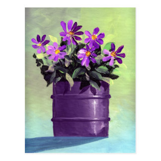 Aún vida floral púrpura postal