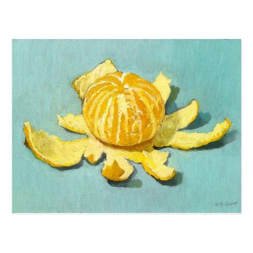 Aún-vida pelada de la clementina tarjeta postal