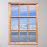 Aún y vista al mar pacífica de una ventana impresiones