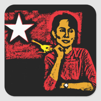 Aung San Suu Kyi Square Sticker
