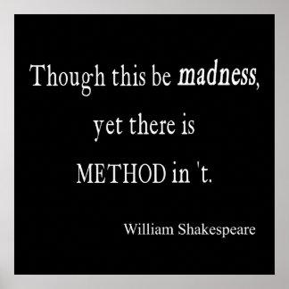 Aunque sea cita de Shakespeare de la locura con to Poster