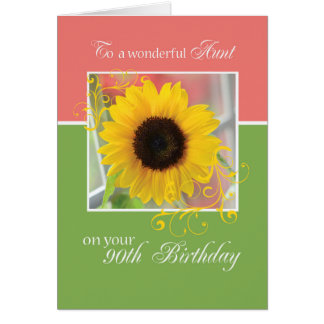 Aunt, 90th Birthday, Just a Note Sunflower Card