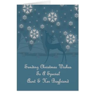 Aunt and Her Boyfriend Reindeer Christmas Card