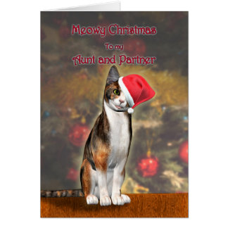 Aunt and Partner, a funny cat in a Christmas hat Card