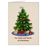 Aunt and Uncle, Merry Christmas Tree, Pets Cards