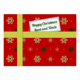 Aunt and uncle red christmas parcel card