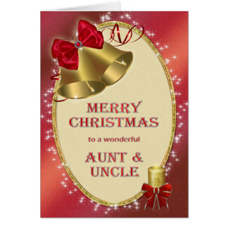 Aunt and uncle, traditional Christmas card