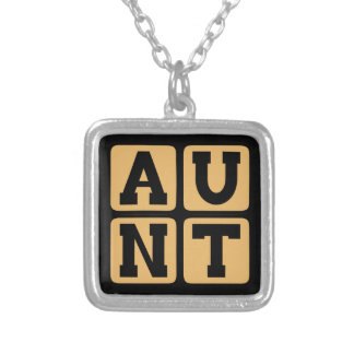 AUNT Aunty Auntie Word Funny Family Reunion Silver Plated Necklace
