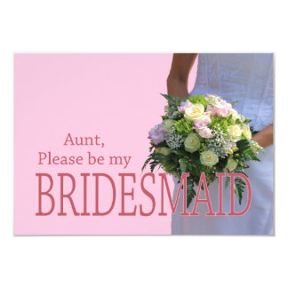 Aunt be Bridesmaid bridal bouquet 3.5x5 Paper Invitation Card