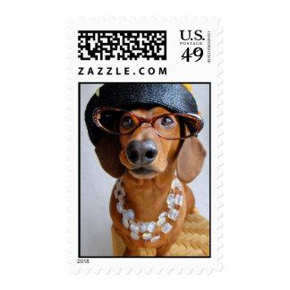 Aunt Bea Dachshund Postage Stamp