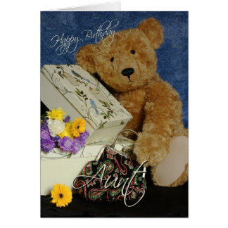 Aunt Birthday Card with cute Bear boxes purse and