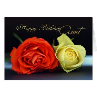 Aunt Birthday Card With Orange And Cream Roses