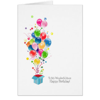 Aunt Birthday Cards, Colorful Balloons Celebration Greeting Card
