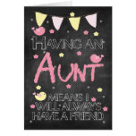 Aunt Birthday Chalkboard With Little Birds Flowers Card