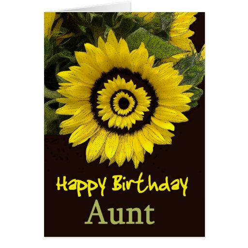 AUNT Birthday with Cheerful Sunflower Card