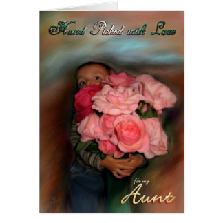 Aunt Bouquet of Love Toddler hugging roses Card