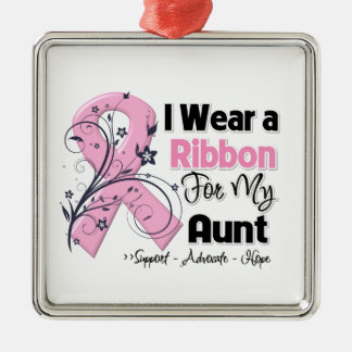 Aunt - Breast Cancer Pink Ribbon Square Metal Christmas Ornament