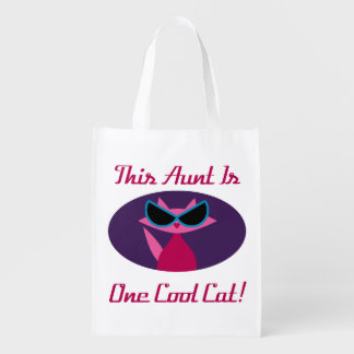 Aunt Cool Cat Reusable Grocery Bag
