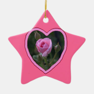 Aunt Dorothy's Pink Rose in Heart Ceramic Ornament