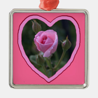 Aunt Dorothy's Pink Rose in Heart Metal Ornament