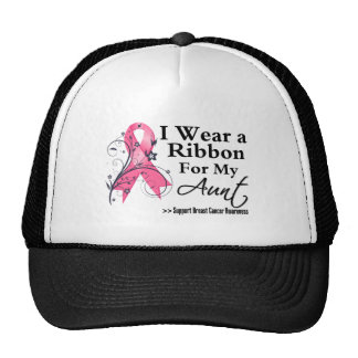 Aunt Floral Ribbon - Breast Cancer Hat