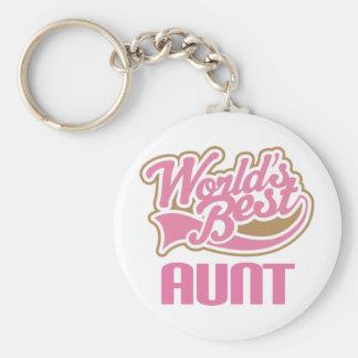 Aunt Gift Cute Worlds Best Slogan Basic Round Button Keychain