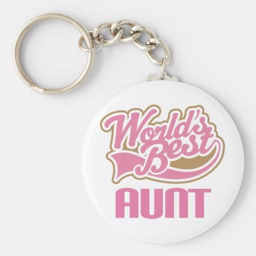 Aunt Gift Cute Worlds Best Slogan Keychain