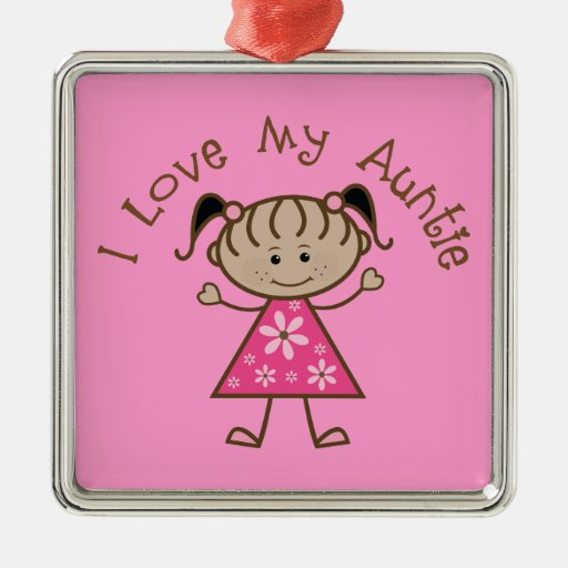 Aunt Gift I Love My Auntie Keepsake Gift Square Metal Christmas Ornament