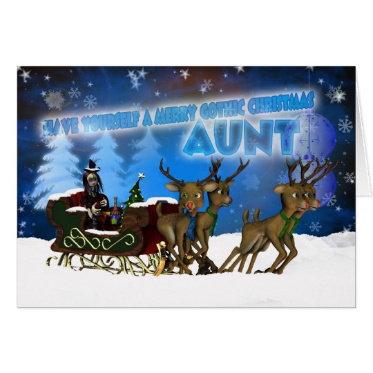 Aunt Gothic Christmas Card, H.I.P. And Reindeer Card