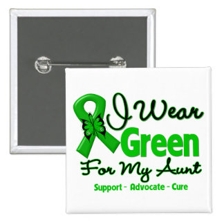 Aunt - Green  Awareness Ribbon 2 Inch Square Button