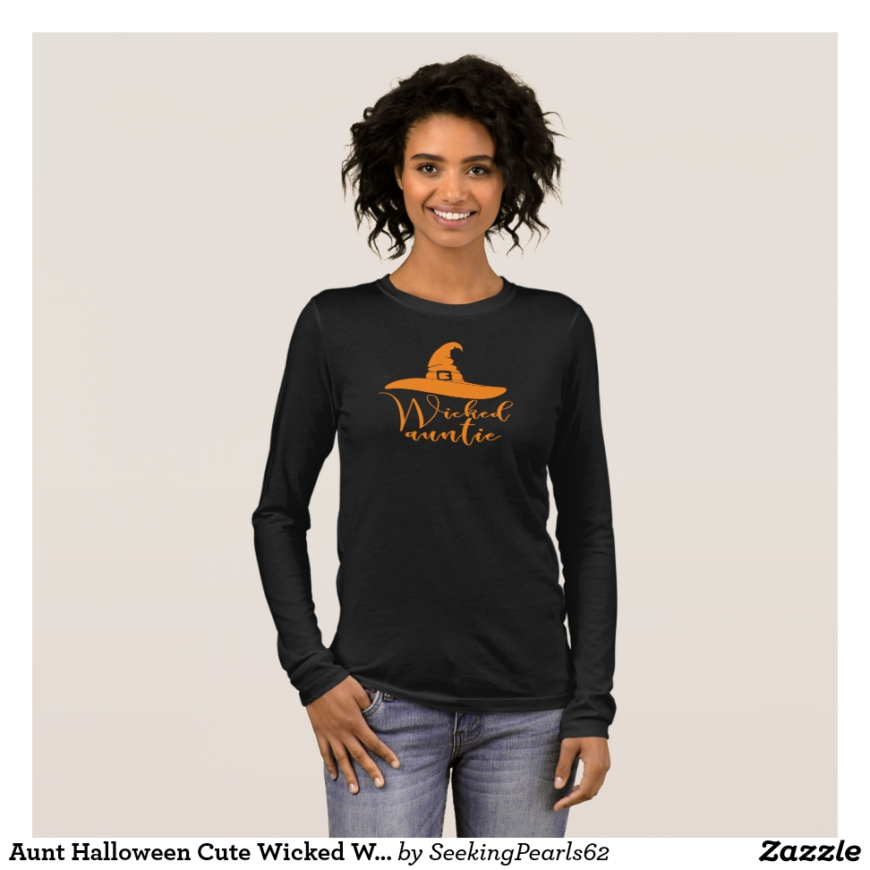 Aunt Halloween Cute Wicked Witch Hat Auntie Orange Long Sleeve T-Shirt - Best Selling Long-Sleeve Street Fashion Shirt Designs