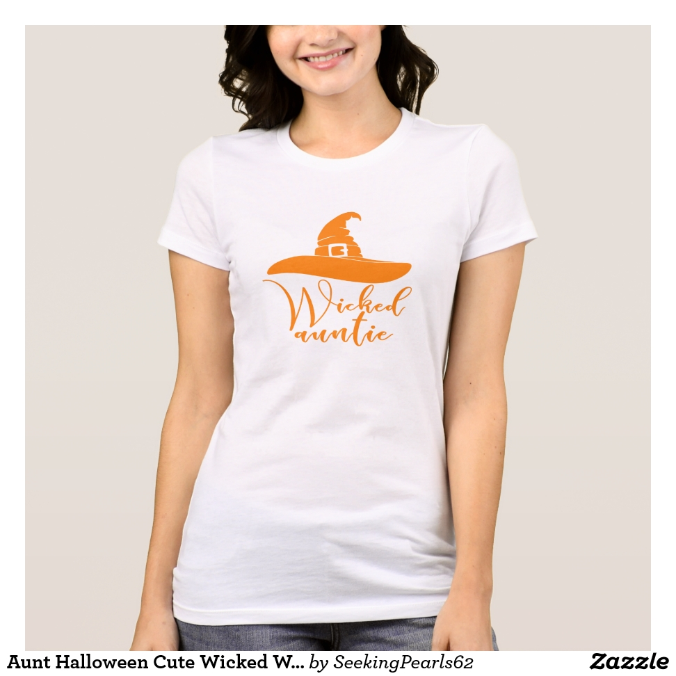 Aunt Halloween Cute Wicked Witch Hat Auntie Orange T-Shirt - Best Selling Long-Sleeve Street Fashion Shirt Designs