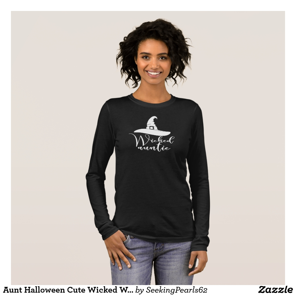 Aunt Halloween Cute Wicked Witch Hat  Auntie White Long Sleeve T-Shirt - Best Selling Long-Sleeve Street Fashion Shirt Designs