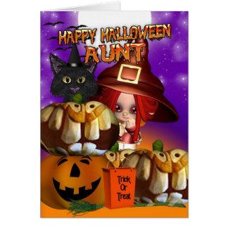 Aunt Halloween witch cat pumpkin jack o lantern Card