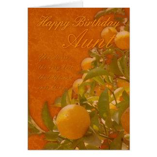 Aunt Happy Birthday Spanish Orange Tree, burnt ora Card
