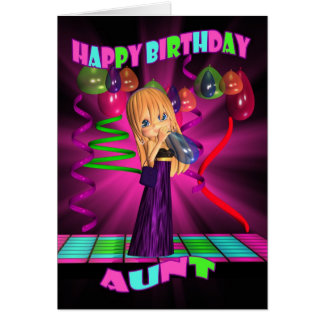 Aunt Happy Birthday with Cute little Cutie Pie bal Greeting Card