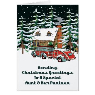 Aunt & Her Partner Sending Christmas Greetings Card