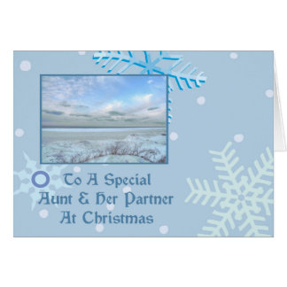 Aunt & Her Partner Winter Lake Christmas Card