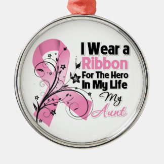 Aunt Hero in My Life Breast Cancer Round Metal Christmas Ornament