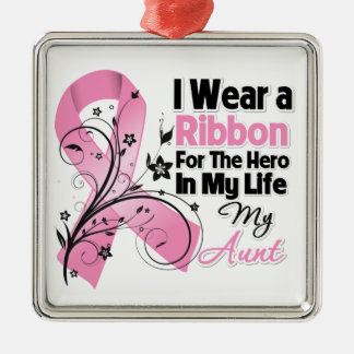 Aunt Hero in My Life Breast Cancer Square Metal Christmas Ornament