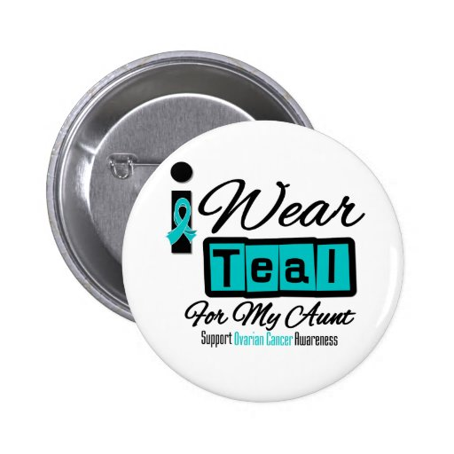 Aunt - I Wear Teal Retro Ovarian Cancer Buttons