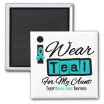 Aunt - I Wear Teal Retro Ovarian Cancer Refrigerator Magnet