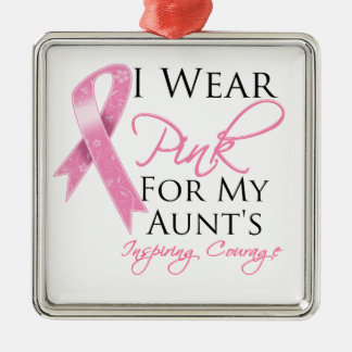 Aunt Inspiring Courage Breast Cancer Square Metal Christmas Ornament