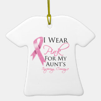Aunt Inspiring Courage Breast Cancer Double-Sided T-Shirt Ceramic Christmas Ornament