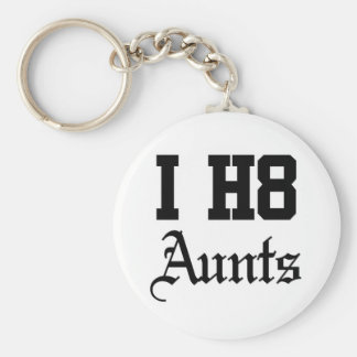 aunt basic round button keychain