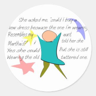 """Aunt Martha's Dress""--Story Art Gifts Round Sticker"