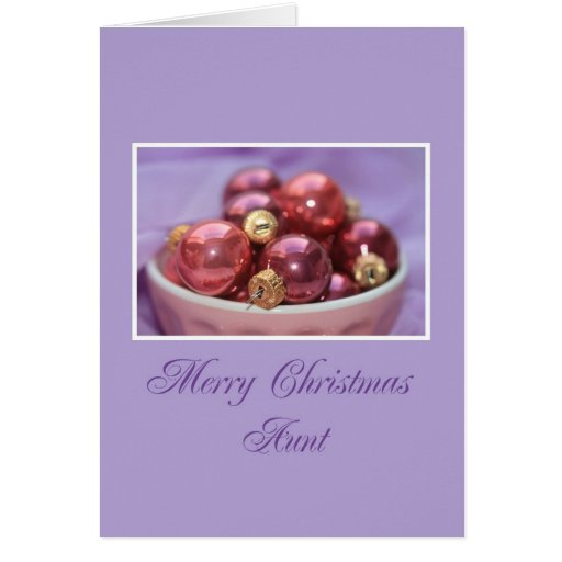 Aunt merry christmas lila &  pink ornaments greeting card