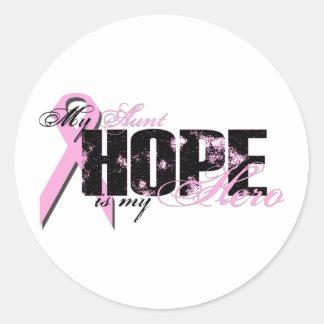 Aunt My Hero - Breast Cancer Hope Classic Round Sticker